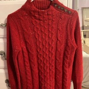 Beautiful Red Cable Knit Sweater for Women